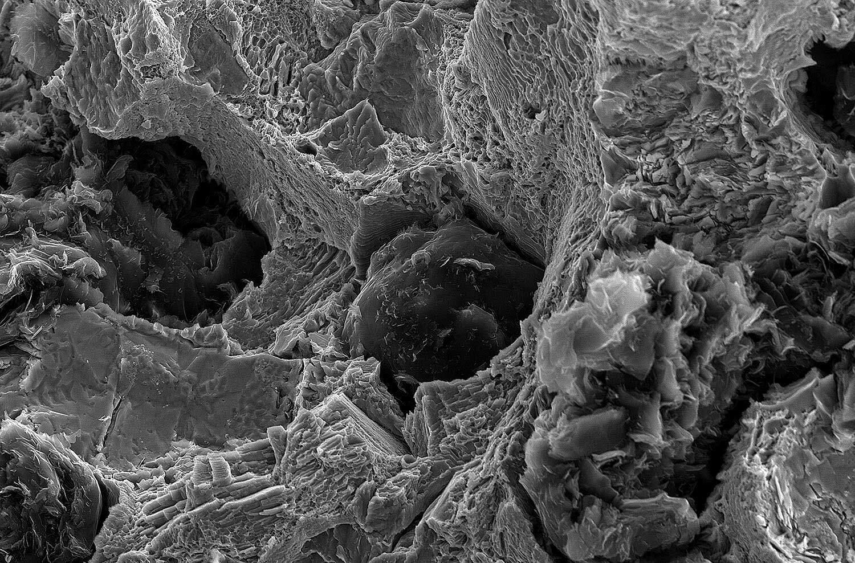 Rasterelektronenmikroskop zeigt Sphärolithen im duktilen Eisenguss für Maschinenbau-Komponenten aus EN-GJS.