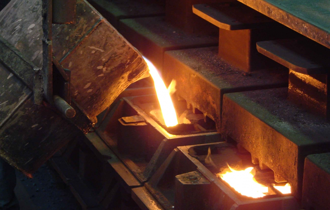 small molding line forms components in engineered ausferritic cast iron up to 30 kg part weight.