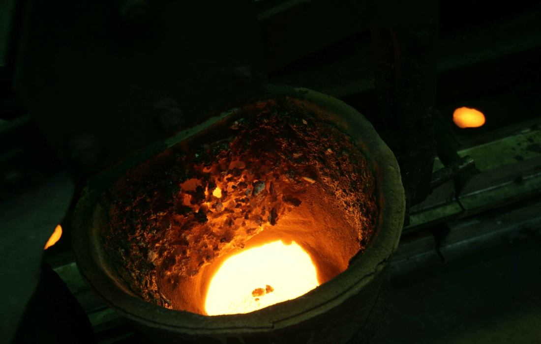 induction heated furnace melts single-origin up to 4,5 to cast iron per batch.