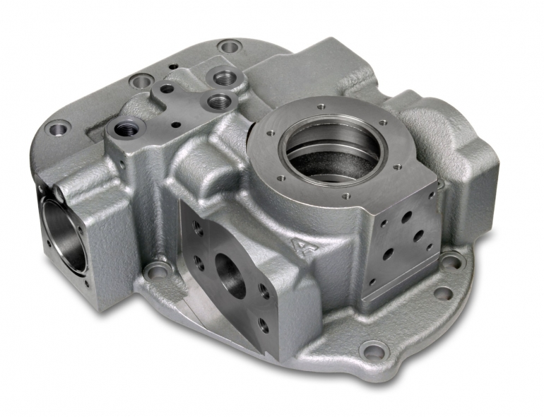 Core intensive castings made of spheroidal cast iron for hydraulic applications ( including steering function ) are moulded in high numbers in iron foundries